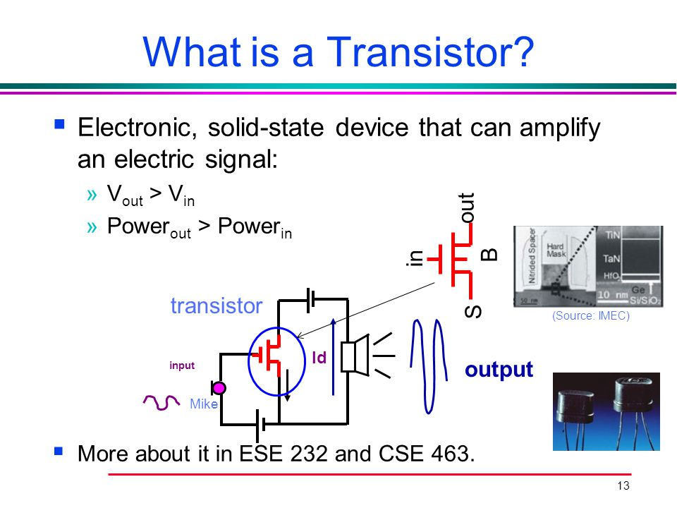 13 What is a Transistor?  Electronic, solid-state device that can amplify an electric signal: »V out > V in »Power out > Power in  More about it in