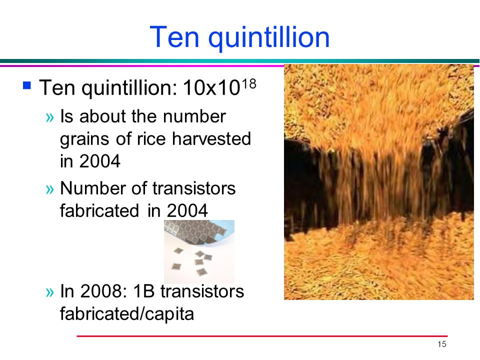 15 Ten quintillion  Ten quintillion: 10x10 18 »Is about the number grains of rice harvested in 2004 »Number of transistors fabricated in 2004 »In 200