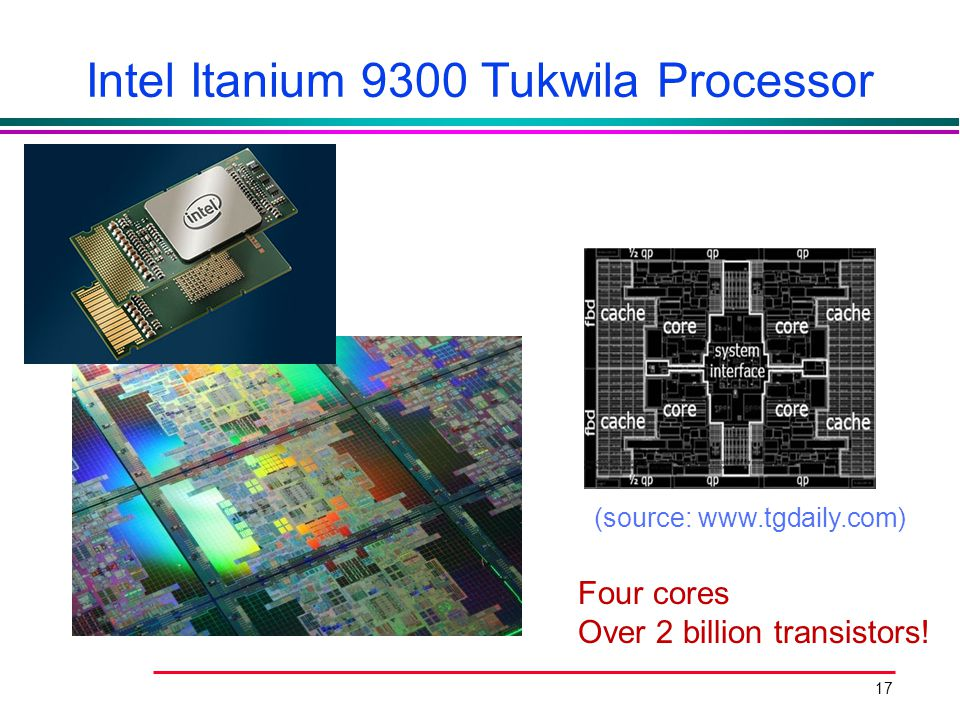 17 Intel Itanium 9300 Tukwila Processor (source: www.tgdaily.com) Four cores Over 2 billion transistors!