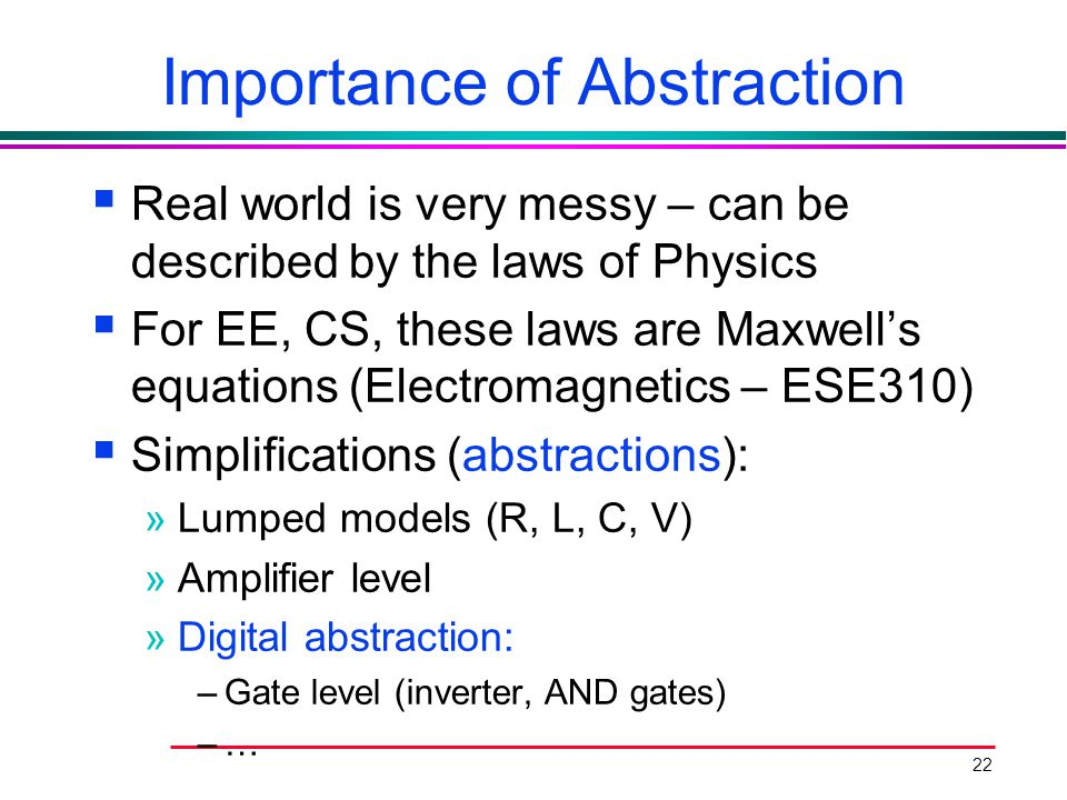 22 Importance of Abstraction  Real world is very messy – can be described by the laws of Physics  For EE, CS, these laws are Maxwell's equations (El