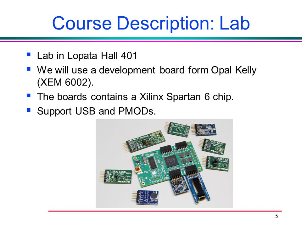 5 Course Description: Lab  Lab in Lopata Hall 401  We will use a development board form Opal Kelly (XEM 6002).  The boards contains a Xilinx Sparta