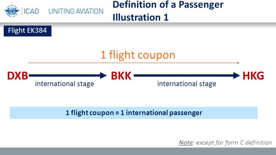 Flight EK384 BKKDXBHKG 1 flight coupon international stage 1 flight coupon = 1 international passenger Definition of a Passenger Illustration 1 Note: except for form C definition