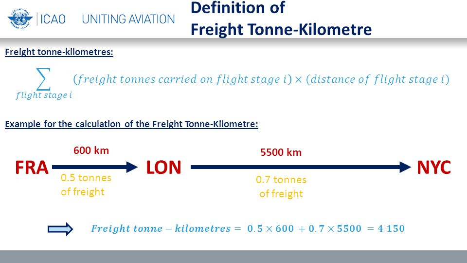 Definition of Freight Tonne-Kilometre Example for the calculation of the Freight Tonne-Kilometre: FRALONNYC 600 km 5500 km 0.5 tonnes of freight 0.7 t