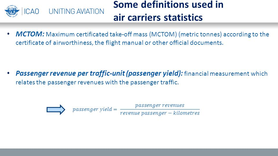 MCTOM: Maximum certificated take-off mass (MCTOM) (metric tonnes) according to the certificate of airworthiness, the flight manual or other official d