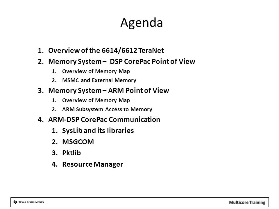 Agenda 1.Overview of the 6614/6612 TeraNet 2.Memory System – DSP CorePac Point of View 1.Overview of Memory Map 2.MSMC and External Memory 3.Memory Sy
