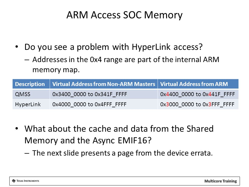 ARM Access SOC Memory Do you see a problem with HyperLink access? – Addresses in the 0x4 range are part of the internal ARM memory map. What about the