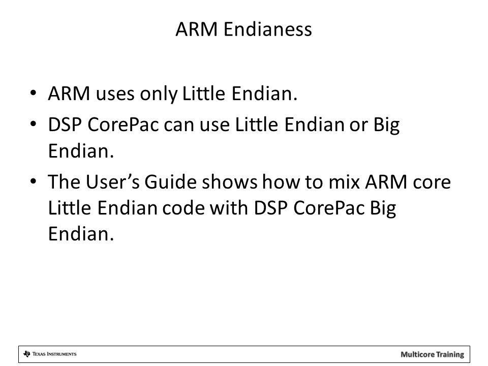 ARM Endianess ARM uses only Little Endian. DSP CorePac can use Little Endian or Big Endian. The User's Guide shows how to mix ARM core Little Endian c