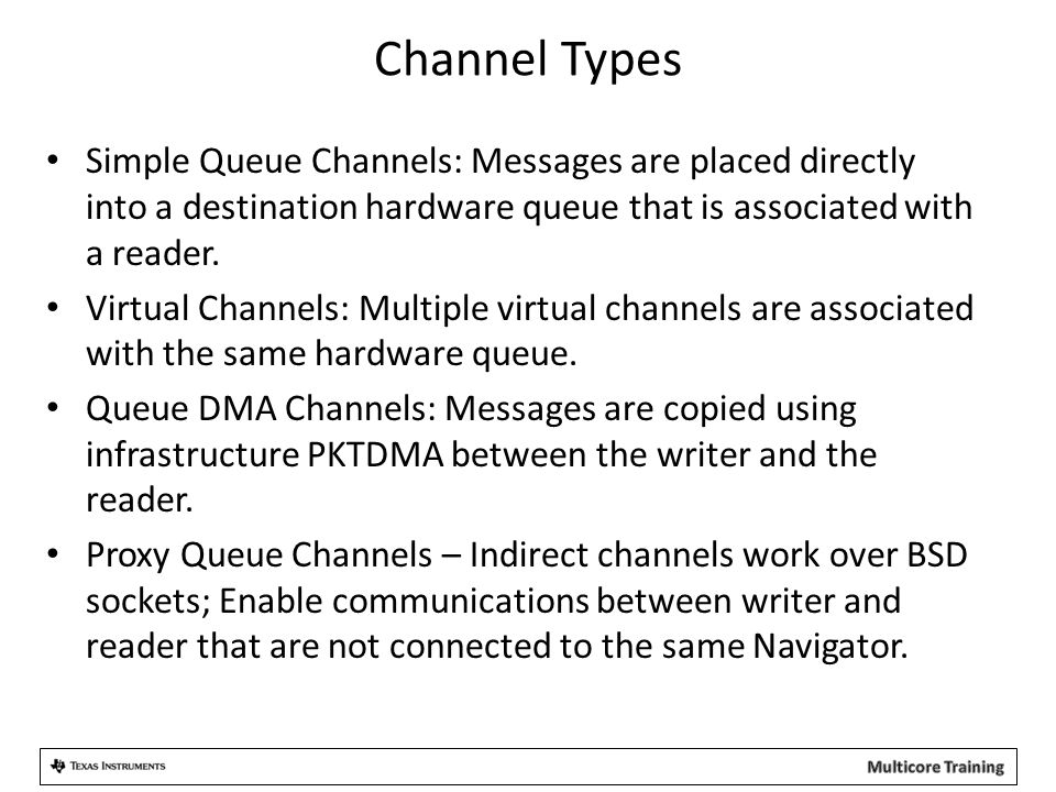 Channel Types Simple Queue Channels: Messages are placed directly into a destination hardware queue that is associated with a reader. Virtual Channels