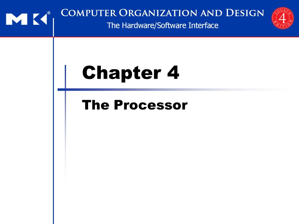 Chapter 4 — The Processor — 2 The Main Control Unit Control signals derived from instruction 0rsrtrdshamtfunct 31:265:025:2120:1615:1110:6 35 or 43rsrtaddress 31:2625:2120:1615:0 4rsrtaddress 31:2625:2120:1615:0 R-type Load/ Store Branch opcodealways read read, except for load write for R-type and load sign-extend and add