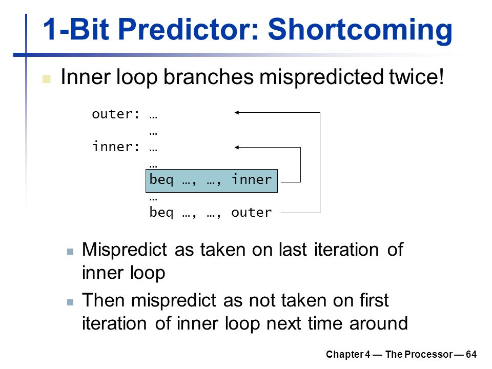 Chapter 4 — The Processor — 64 1-Bit Predictor: Shortcoming Inner loop branches mispredicted twice! outer: … … inner: … … beq …, …, inner … beq …, …,