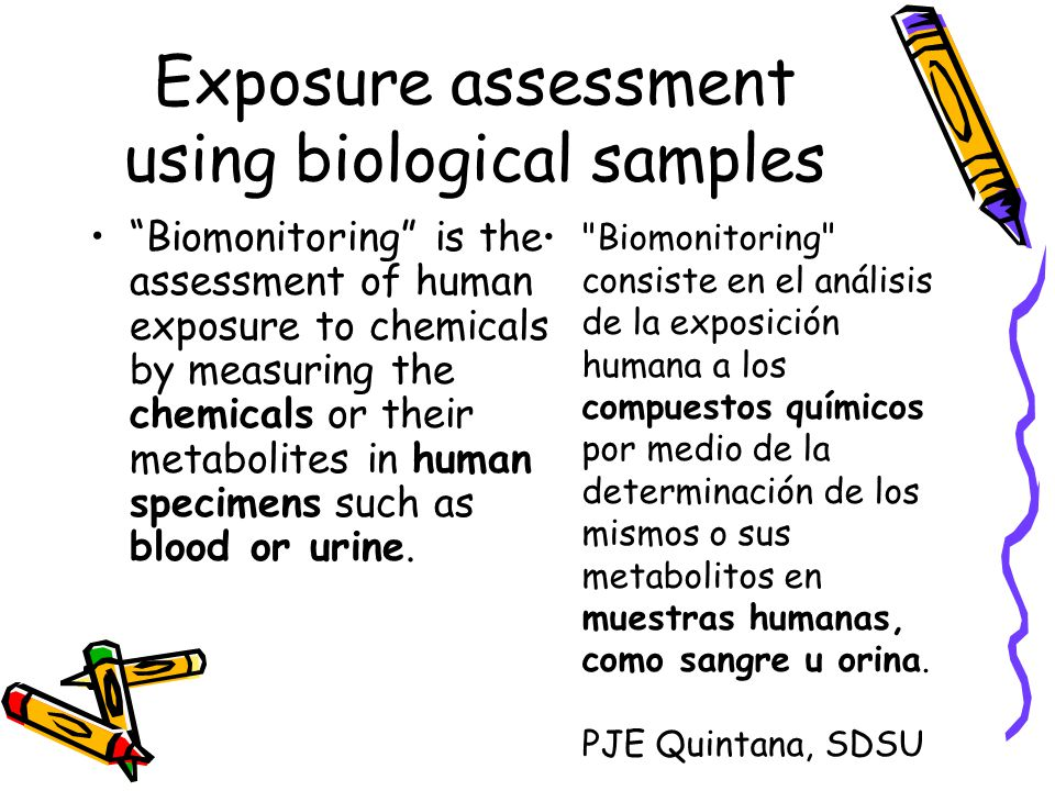 Exposure assessment using biological samples Biomonitoring is the assessment of human exposure to chemicals by measuring the chemicals or their metabolites in human specimens such as blood or urine.