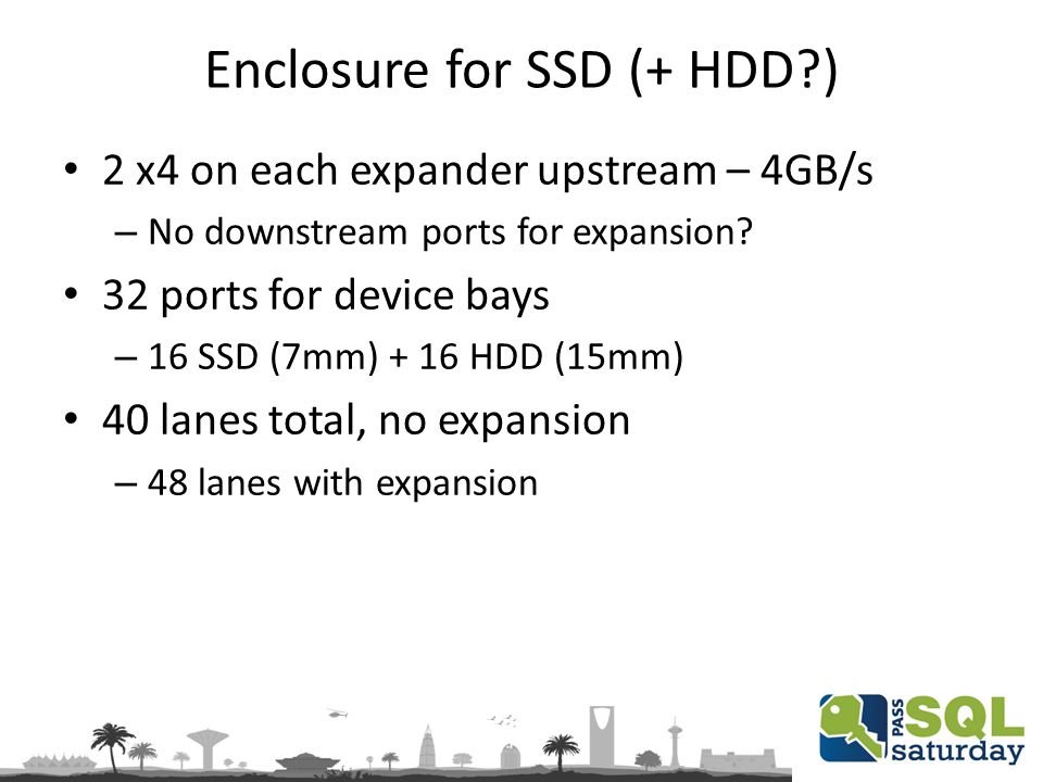 Enclosure for SSD (+ HDD ) 2 x4 on each expander upstream – 4GB/s – No downstream ports for expansion.