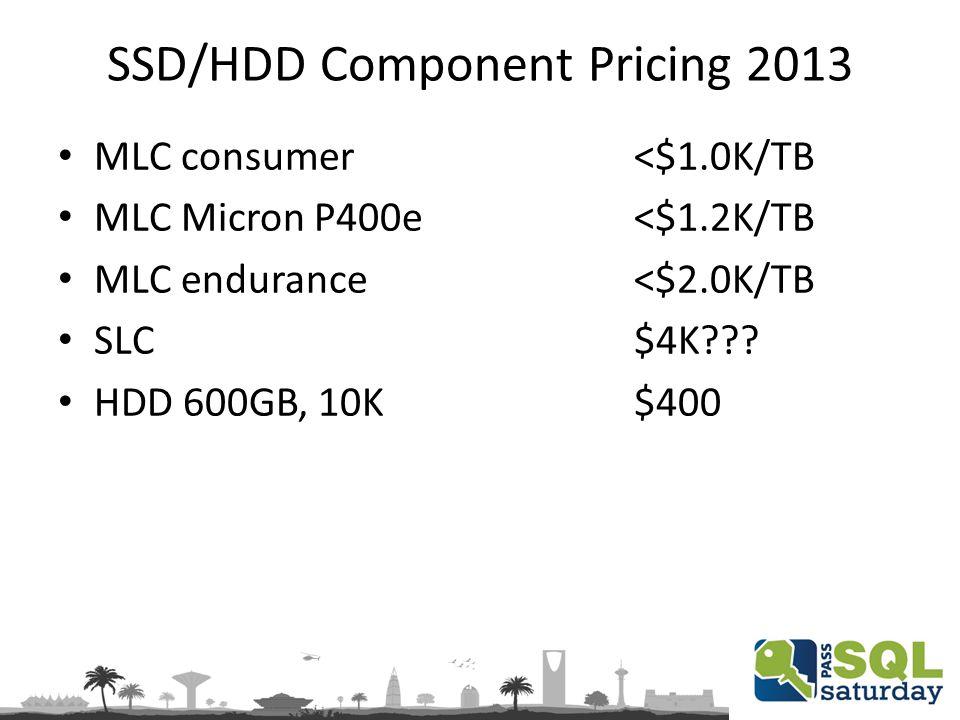 SSD/HDD Component Pricing 2013 MLC consumer<$1.0K/TB MLC Micron P400e<$1.2K/TB MLC endurance<$2.0K/TB SLC$4K??? HDD 600GB, 10K$400