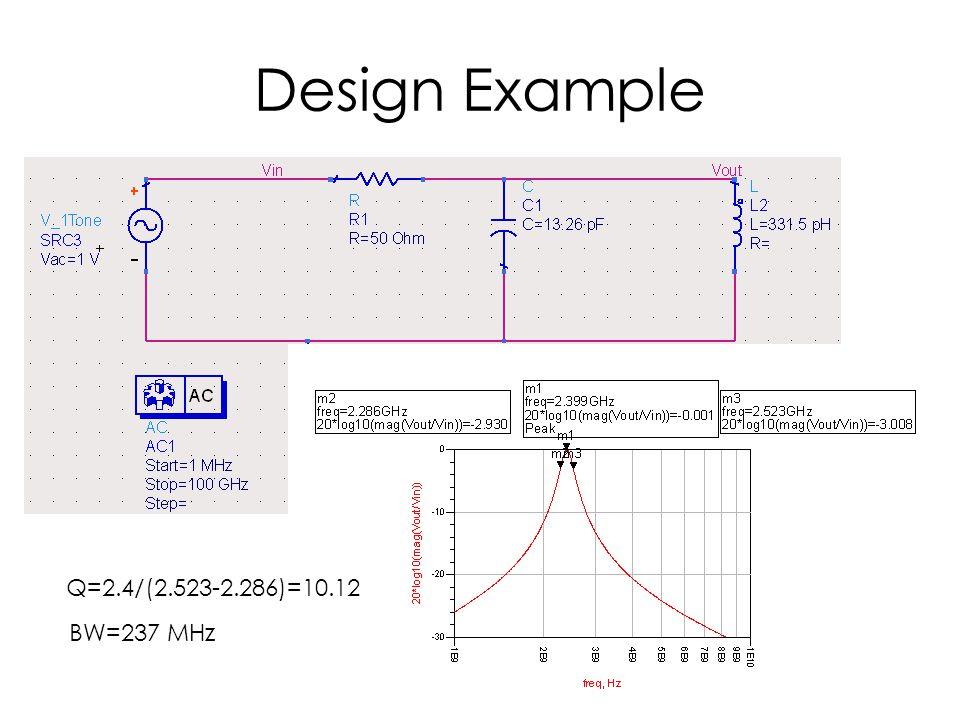 Design Example Q=2.4/(2.523-2.286)=10.12 BW=237 MHz