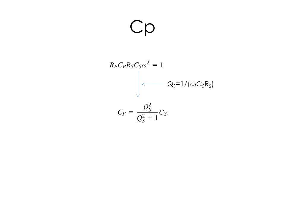 Cp Q S =1/(ωC S R S )