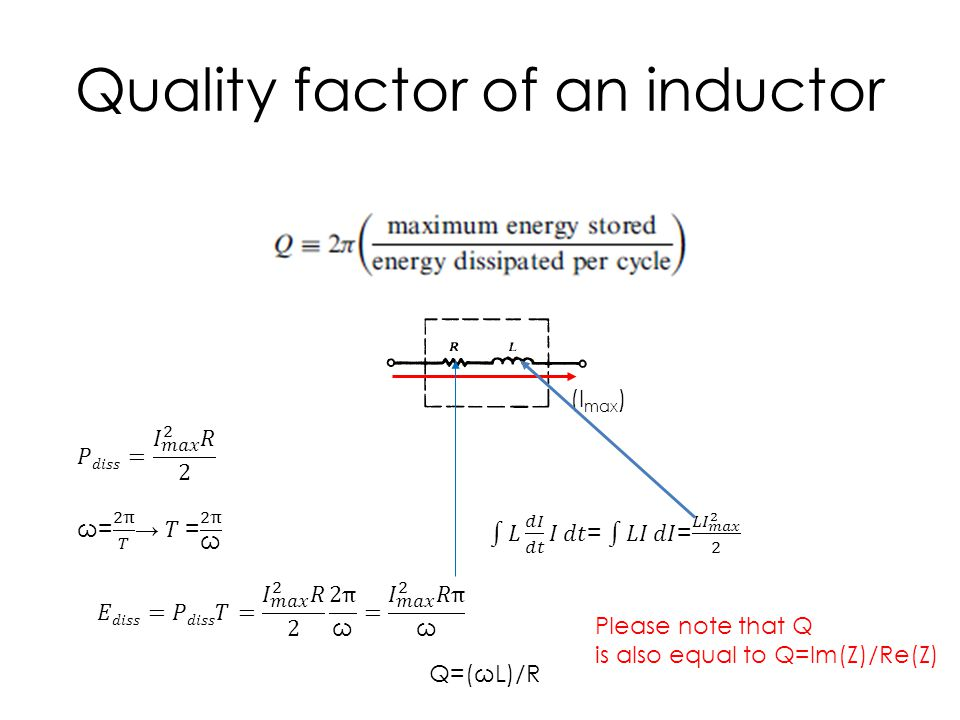 Quality factor of an inductor (I max ) Q=(ωL)/R Please note that Q is also equal to Q=Im(Z)/Re(Z)