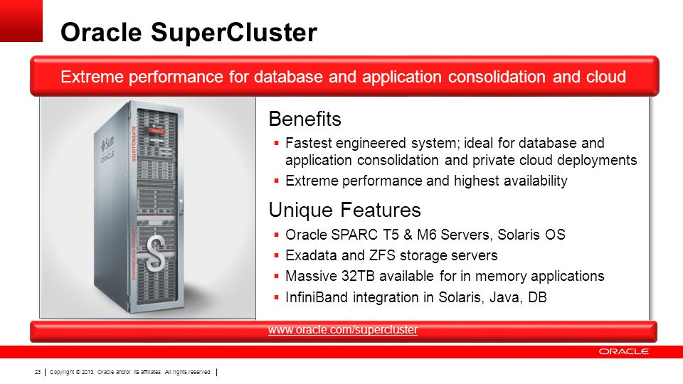 Copyright © 2013, Oracle and/or its affiliates. All rights reserved. 23 Oracle SuperCluster Extreme performance for database and application consolida