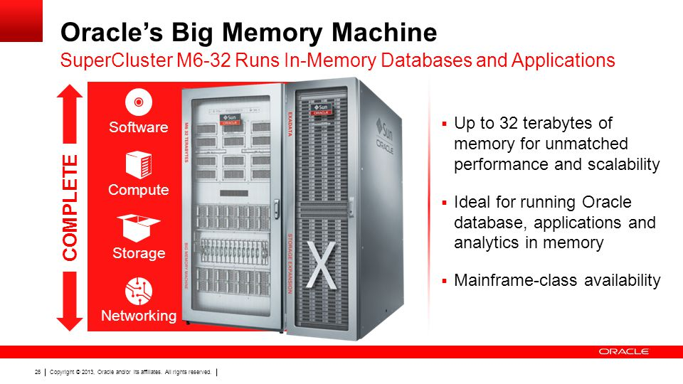 Copyright © 2013, Oracle and/or its affiliates. All rights reserved. 26 Oracle's Big Memory Machine  Up to 32 terabytes of memory for unmatched perfo