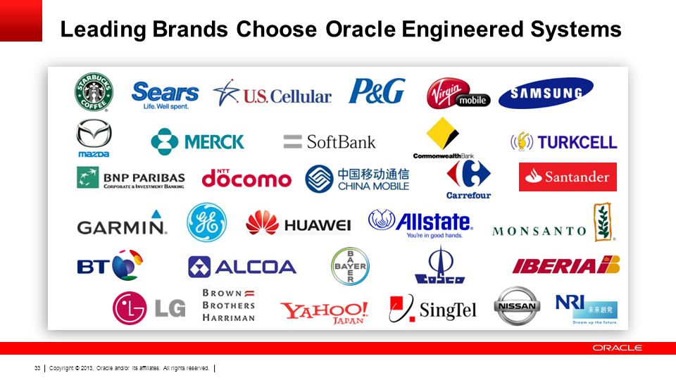 Copyright © 2013, Oracle and/or its affiliates. All rights reserved. 33 Leading Brands Choose Oracle Engineered Systems