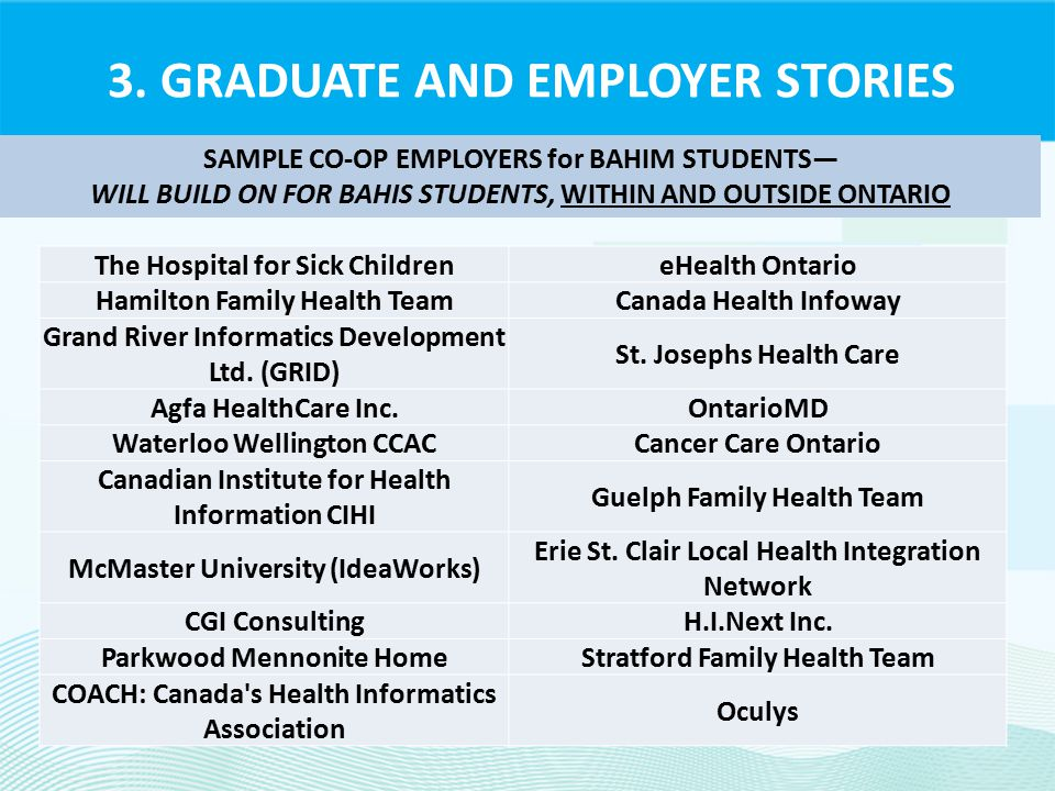3. GRADUATE AND EMPLOYER STORIES SAMPLE CO-OP EMPLOYERS for BAHIM STUDENTS— WILL BUILD ON FOR BAHIS STUDENTS, WITHIN AND OUTSIDE ONTARIO The Hospital