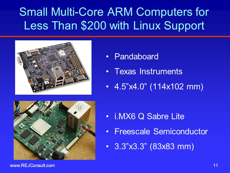 Small Multi-Core ARM Computers for Less Than $200 with Linux Support Pandaboard Texas Instruments 4.5 x4.0 (114x102 mm) i.MX6 Q Sabre Lite Freescale Semiconductor 3.3 x3.3 (83x83 mm) www.REJConsult.com11
