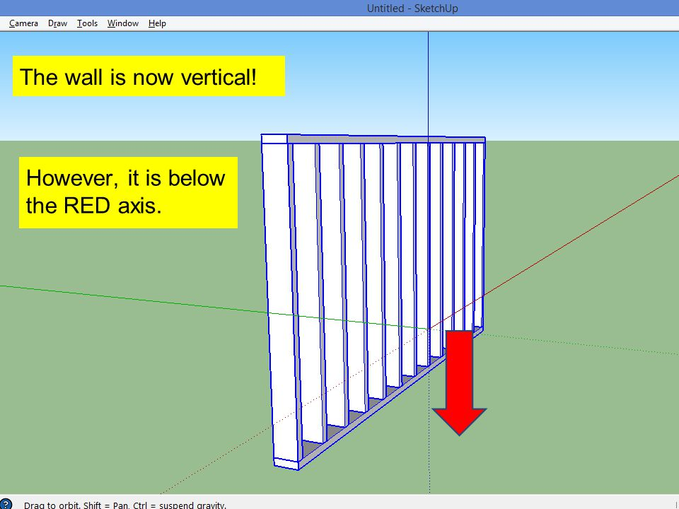 The wall is now vertical! However, it is below the RED axis.