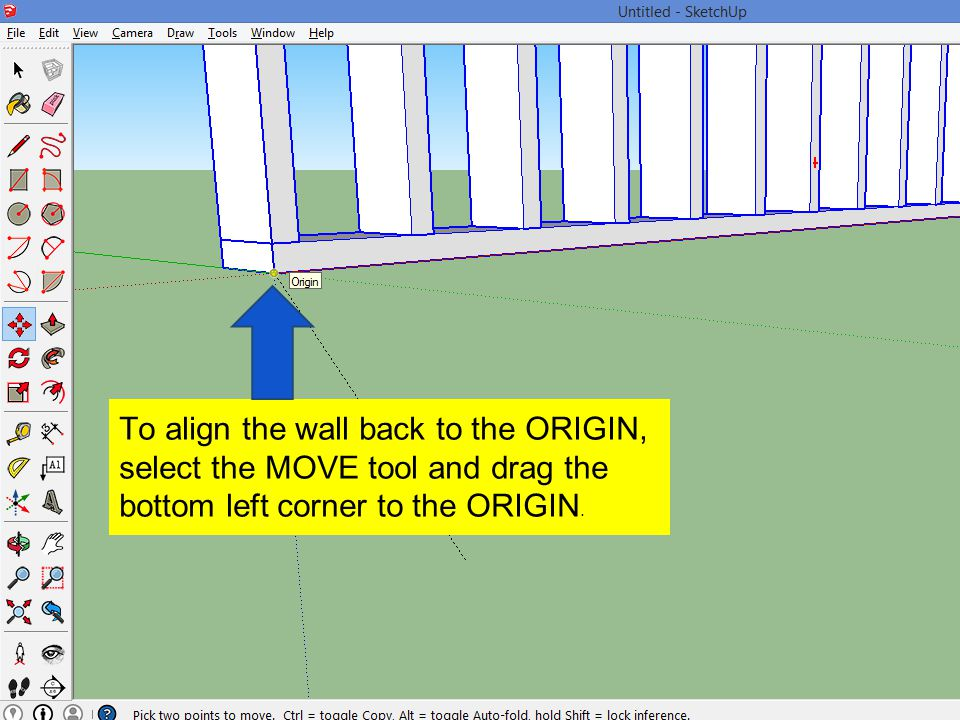 To align the wall back to the ORIGIN, select the MOVE tool and drag the bottom left corner to the ORIGIN.