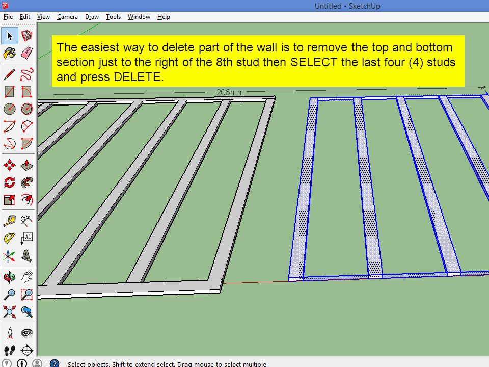 The easiest way to delete part of the wall is to remove the top and bottom section just to the right of the 8th stud then SELECT the last four (4) stu