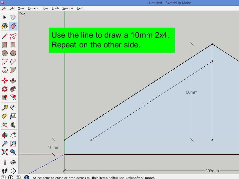 Use the line to draw a 10mm 2x4. Repeat on the other side.