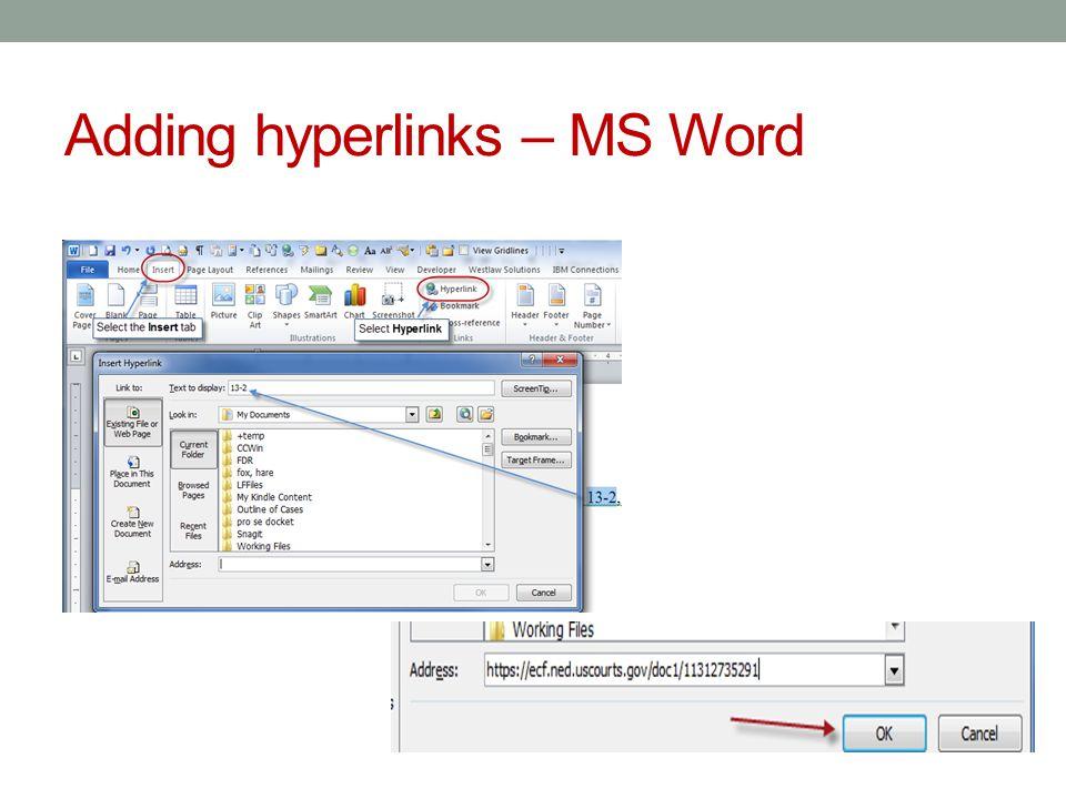 Adding Hyperlinks -- WordPerfect