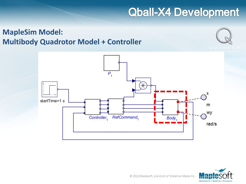 © 2012 Maplesoft, a division of Waterloo Maple Inc. MapleSim Model: Multibody Quadrotor Model + Controller