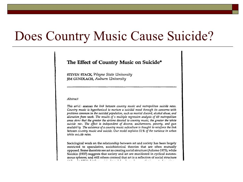 Does Country Music Cause Suicide?