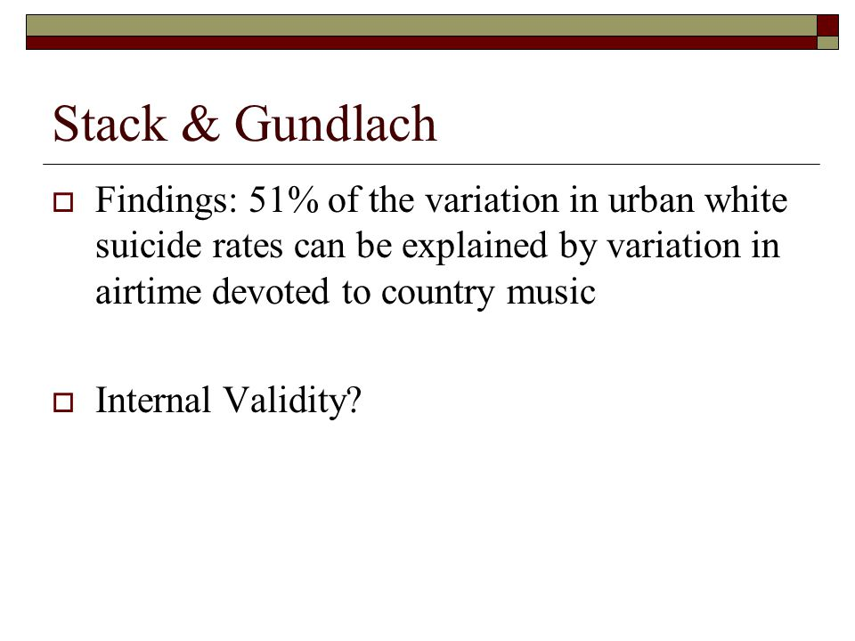 Stack & Gundlach  Findings: 51% of the variation in urban white suicide rates can be explained by variation in airtime devoted to country music  Int