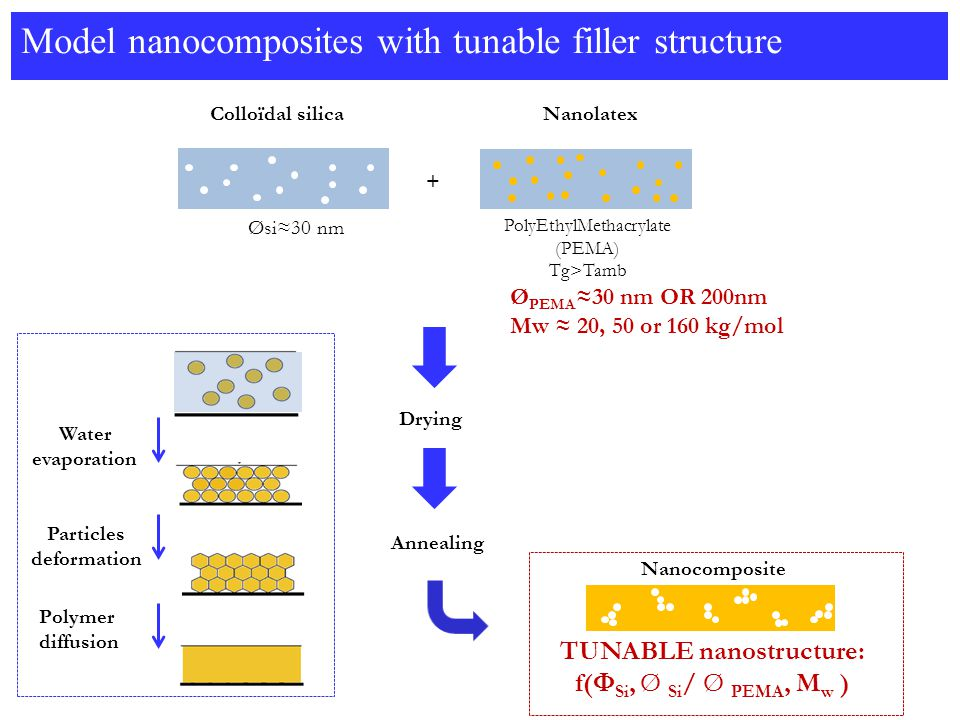 Model nanocomposites with tunable filler structure Øsi≈30 nm Colloïdal silica + Drying Annealing Water evaporation Particles deformation Polymer diffusion Nanocomposite TUNABLE nanostructure: f(  Si, Ø Si / Ø PEMA, M w ) PolyEthylMethacrylate (PEMA) Tg>Tamb Nanolatex Ø PEMA ≈30 nm OR 200nm Mw ≈ 20, 50 or 160 kg/mol