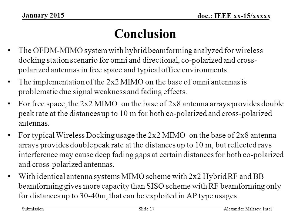 Submission doc.: IEEE xx-15/xxxxx Conclusion The OFDM-MIMO system with hybrid beamforming analyzed for wireless docking station scenario for omni and directional, co-polarized and cross- polarized antennas in free space and typical office environments.