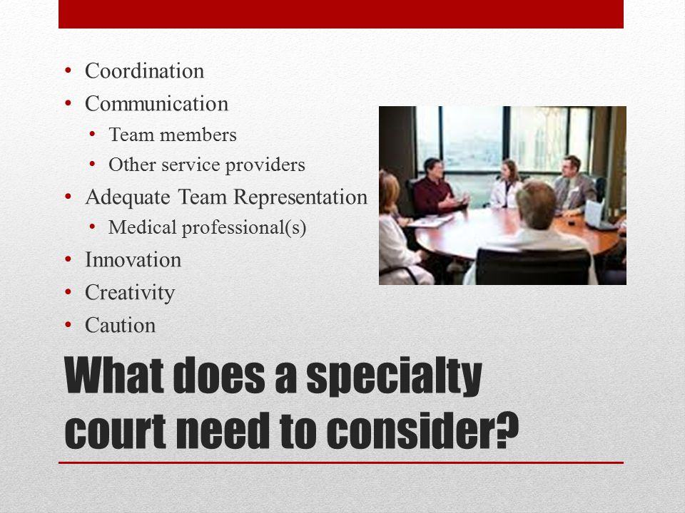 What does a specialty court need to consider? Coordination Communication Team members Other service providers Adequate Team Representation Medical pro