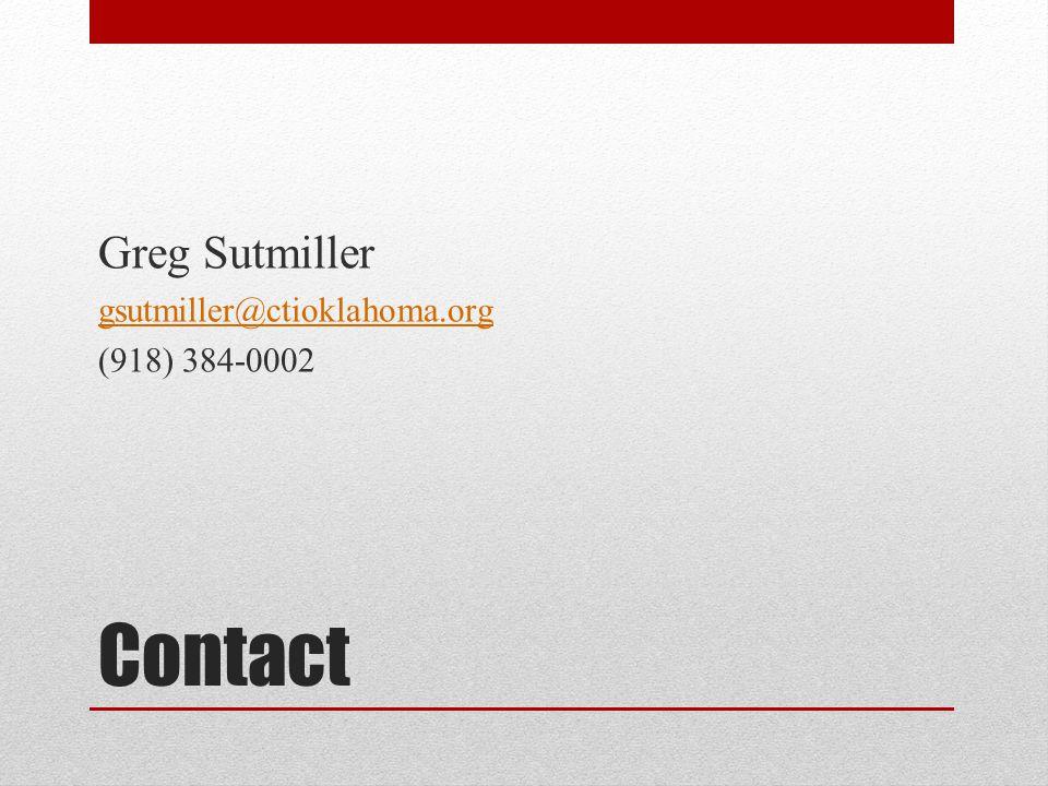 Contact Greg Sutmiller gsutmiller@ctioklahoma.org (918) 384-0002