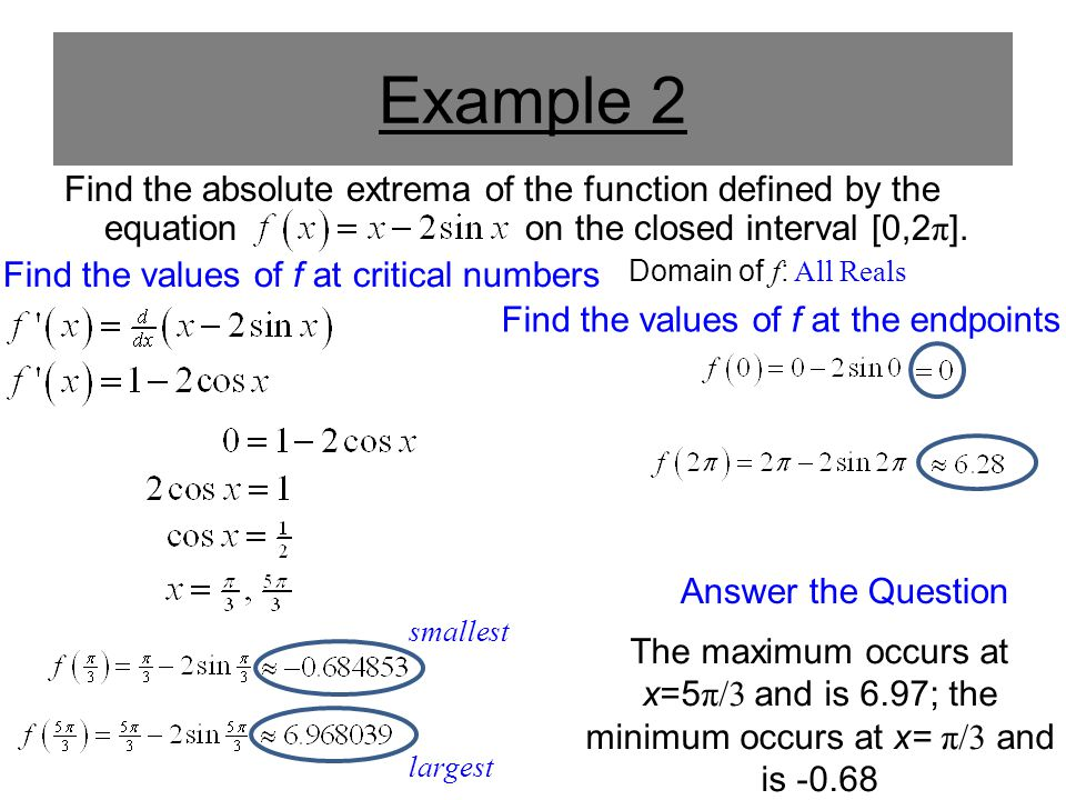 Example 2 Find the absolute extrema of the function defined by the equation on the closed interval [0,2 π ]. Find the values of f at critical numbers