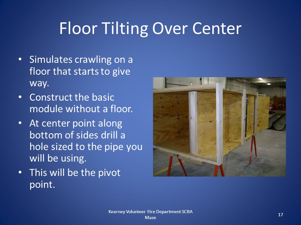 Floor Tilting Over Center Simulates crawling on a floor that starts to give way. Construct the basic module without a floor. At center point along bot