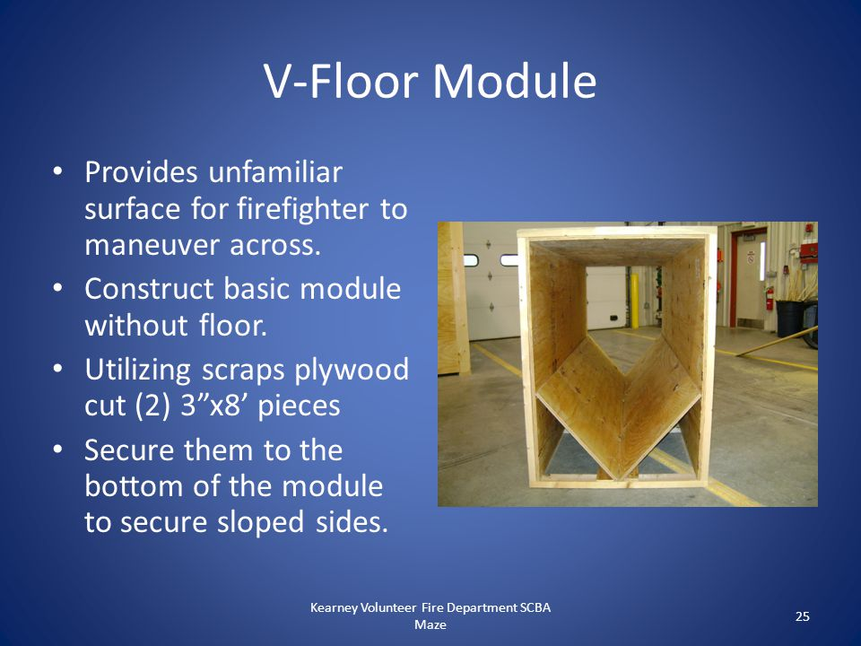 V-Floor Module Provides unfamiliar surface for firefighter to maneuver across. Construct basic module without floor. Utilizing scraps plywood cut (2)