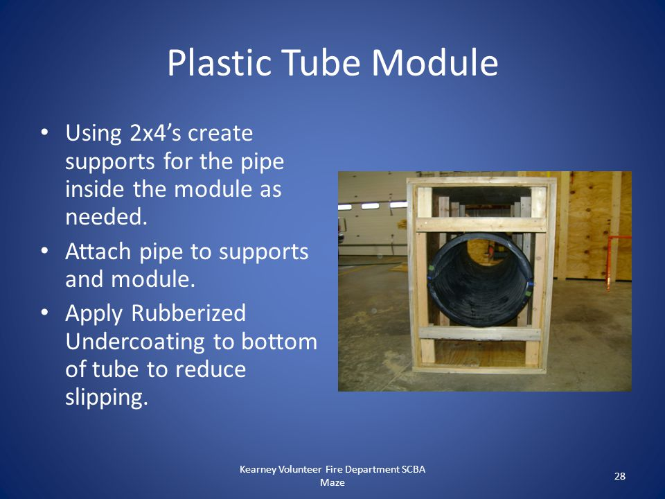 Plastic Tube Module Using 2x4's create supports for the pipe inside the module as needed. Attach pipe to supports and module. Apply Rubberized Underco