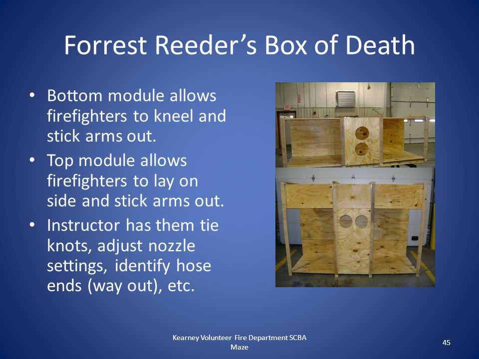 Forrest Reeder's Box of Death Bottom module allows firefighters to kneel and stick arms out. Top module allows firefighters to lay on side and stick a