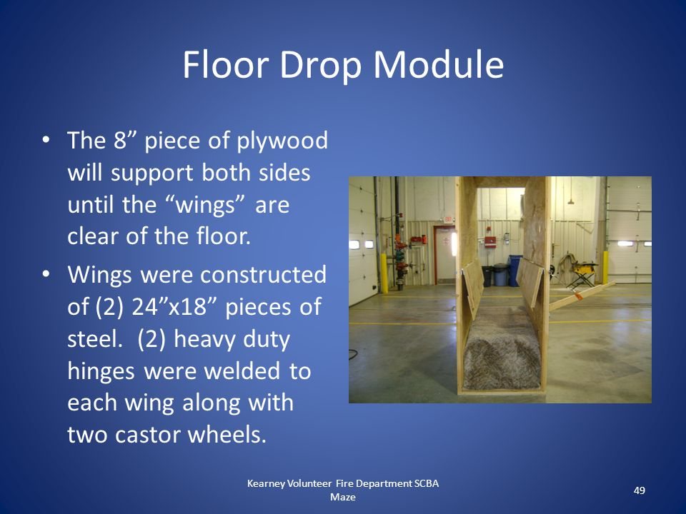 """Floor Drop Module The 8"""" piece of plywood will support both sides until the """"wings"""" are clear of the floor. Wings were constructed of (2) 24""""x18"""" piec"""