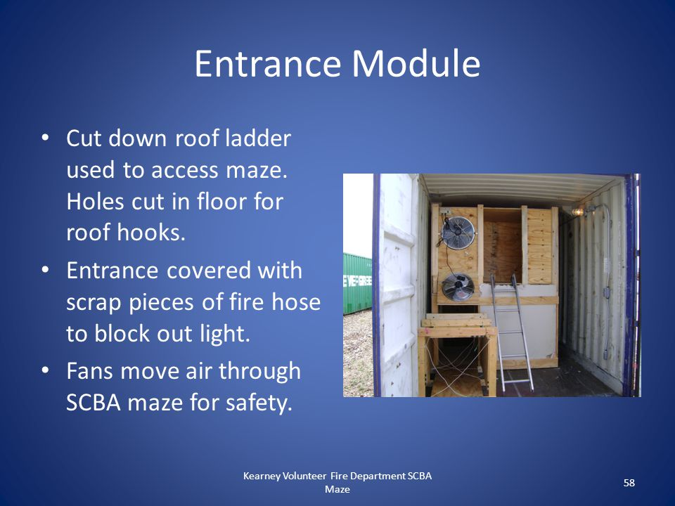 Entrance Module Cut down roof ladder used to access maze. Holes cut in floor for roof hooks. Entrance covered with scrap pieces of fire hose to block