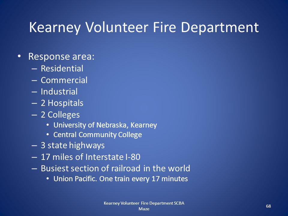 Kearney Volunteer Fire Department Response area: – Residential – Commercial – Industrial – 2 Hospitals – 2 Colleges University of Nebraska, Kearney Ce
