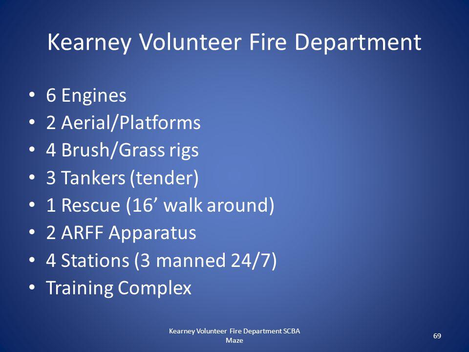 Kearney Volunteer Fire Department 6 Engines 2 Aerial/Platforms 4 Brush/Grass rigs 3 Tankers (tender) 1 Rescue (16' walk around) 2 ARFF Apparatus 4 Sta