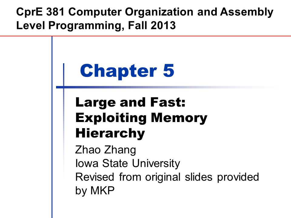 Chapter 5 — Large and Fast: Exploiting Memory Hierarchy — 22 Replacement and Writes To reduce page fault rate, prefer least- recently used (LRU) replacement Reference bit (aka use bit) in PTE set to 1 on access to page Periodically cleared to 0 by OS A page with reference bit = 0 has not been used recently Disk writes take millions of cycles Block at once, not individual locations Write through is impractical Use write-back Dirty bit in PTE set when page is written