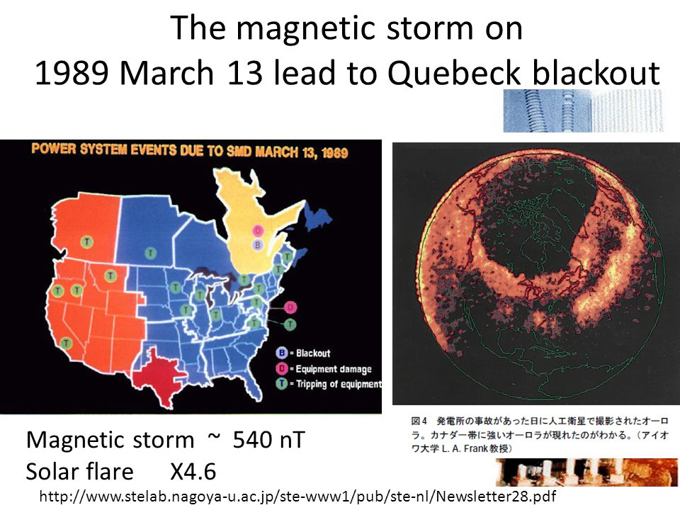 http://www.stelab.nagoya-u.ac.jp/ste-www1/pub/ste-nl/Newsletter28.pdf The magnetic storm on 1989 March 13 lead to Quebeck blackout Magnetic storm ~ 540 nT Solar flare X4.6