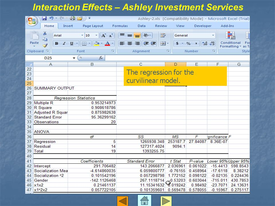 Interaction Effects – Ashley Investment Services The regression for the curvilinear model.
