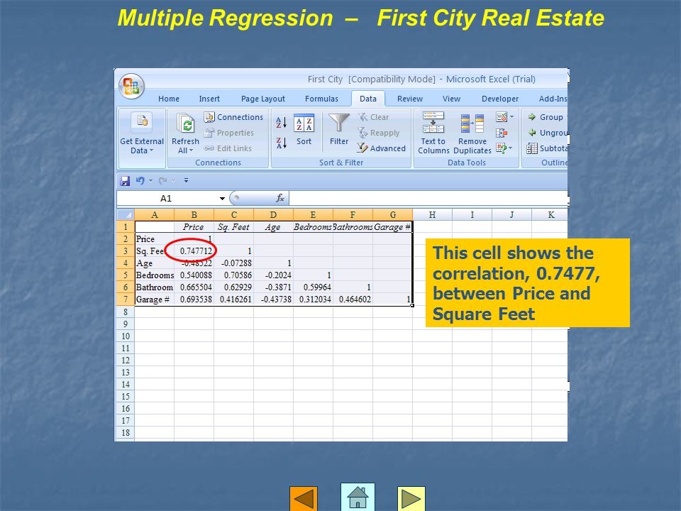 Multiple Regression – First City Real Estate This cell shows the correlation, 0.7477, between Price and Square Feet